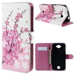 Acer Liquid Z530 Hoesje Roze Bloemen met Opbergvakjes