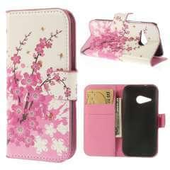 HTC One Mini 2 Hoesje Bloemen Roze met Opbergvakjes