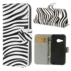 HTC One Mini 2 Wallet Stand Case Hoesje Zebra