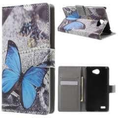 LG Bello 2 Hoesje Blauwe Vlinder met Opbergvakjes