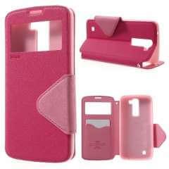 LG K8 Hoesje Roze met Venster, Merk Roar Korea (K350N)