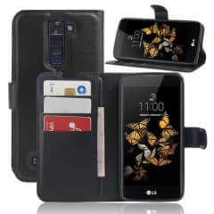 LG K8 Hoesje Zwart met Opbergvakjes en Flexibele Houder (K350N)