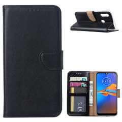 Motorola Moto E6 Plus Hoesje Zwart met Pasjeshouder
