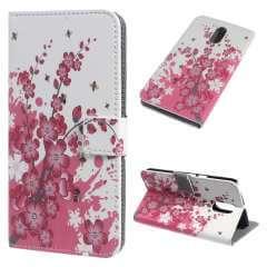 Motorola Moto G4 | G4 Plus Hoesje Roze Bloemen met Opbergvakjes