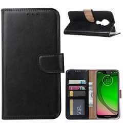 Motorola Moto G7 Play Hoesje Zwart met Pasjeshouder