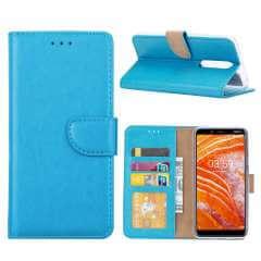 Nokia 3.1 Plus Hoesje Aquablauw met Pasjeshouder