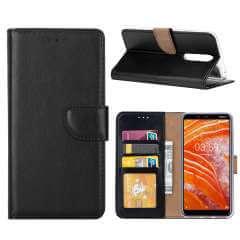 Nokia 3.1 Plus Hoesje Zwart met Pasjeshouder