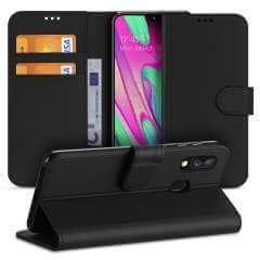 Samsung Galaxy A40 Hoesje Zwart met Pasjeshouder