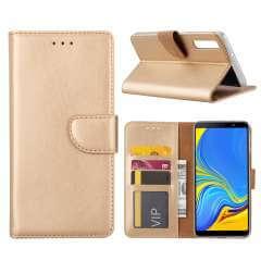 Samsung Galaxy A7 (2018) Hoesje Goud met Pasjeshouder
