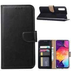Samsung Galaxy A70 Standcase Hoesje Zwart met Pasjeshouder