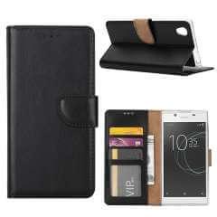 Sony Xperia L3 Standcase Hoesje Zwart met Pasjeshouder