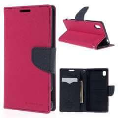 Sony Xperia M4 Aqua Hoesje Roze met Opbergvakjes, Merk Mercury!