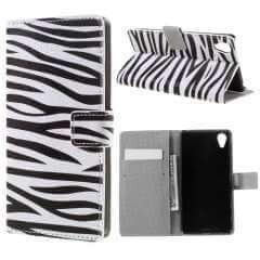 Sony Xperia X Performance Hoesje Zebra met Opbergvakjes