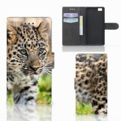 Huawei Ascend P8 Lite Telefoonhoesje met Pasjes Baby Luipaard