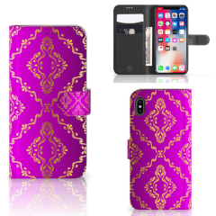 Wallet Case Apple iPhone Xs Max Barok Roze