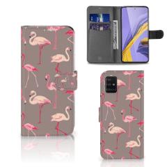 Samsung Galaxy A51 Telefoonhoesje met Pasjes Flamingo