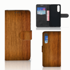 Huawei P30 Book Style Case Donker Hout