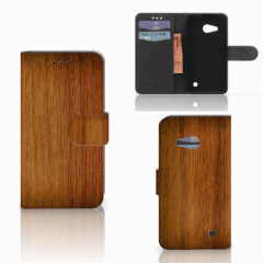 Microsoft Lumia 550 Book Style Case Donker Hout