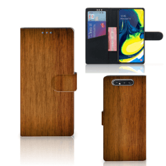 Samsung Galaxy A80 Book Style Case Donker Hout