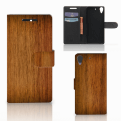 HTC Desire 628 Book Style Case Donker Hout