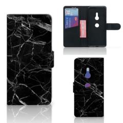 Sony Xperia XZ3 Bookcase Marmer Zwart - Origineel Cadeau Vader