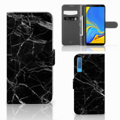 Samsung Galaxy A7 (2018) Bookcase Marmer Zwart - Origineel Cadeau Vader