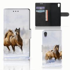 Sony Xperia XA1 Telefoonhoesje met Pasjes Paarden