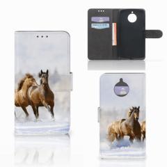Motorola Moto E4 Plus Telefoonhoesje met Pasjes Paarden