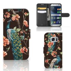 Samsung Galaxy S7 Telefoonhoesje met Pasjes Pauw met Bloemen