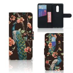 OnePlus 6 Telefoonhoesje met Pasjes Pauw met Bloemen