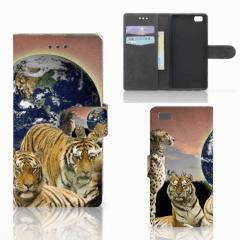 Huawei Ascend P8 Lite Telefoonhoesje met Pasjes Roofdieren