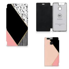Huawei P9 Flip Case Zwart Roze Vormen