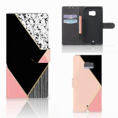 HTC U Ultra Bookcase Zwart Roze Vormen