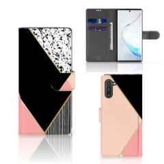 Samsung Galaxy Note 10 Bookcase Zwart Roze Vormen