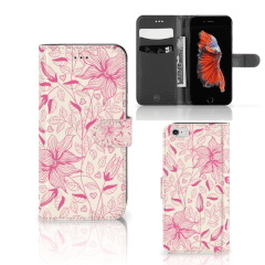 Apple iPhone 6 Plus   6s Plus Hoesje Pink Flowers