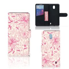 Nokia 1 Plus Hoesje Pink Flowers