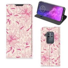 Motorola One Zoom Smart Cover Pink Flowers