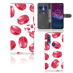 Motorola One Action Book Cover Pink Macarons