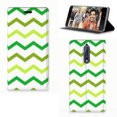 Nokia 8 Hoesje met Magneet Zigzag Groen