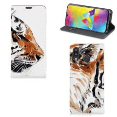 Bookcase Samsung Galaxy M20 Watercolor Tiger