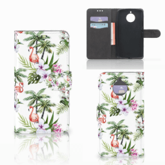 Motorola Moto E4 Plus Telefoonhoesje met Pasjes Flamingo Palms