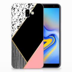 Samsung Galaxy J6 Plus (2018) TPU Hoesje Zwart Roze Vormen