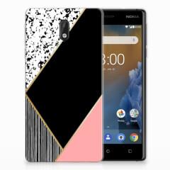 Nokia 3 TPU Hoesje Zwart Roze Vormen