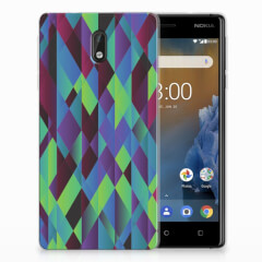 Nokia 3 TPU Hoesje Abstract Green Blue