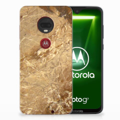 Motorola Moto G7   G7 Plus TPU Siliconen Hoesje Marmer Creme