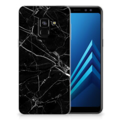 Samsung Galaxy A8 (2018) TPU Siliconen Hoesje Marmer Zwart - Origineel Cadeau Vader