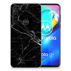 Motorola Moto G8 Power TPU Siliconen Hoesje Marmer Zwart - Origineel Cadeau Vader