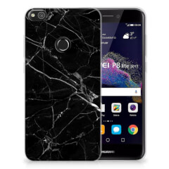 Huawei P8 Lite 2017 TPU Siliconen Hoesje Marmer Zwart - Origineel Cadeau Vader