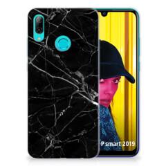 Huawei P Smart 2019 TPU Siliconen Hoesje Marmer Zwart - Origineel Cadeau Vader