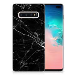 Samsung Galaxy S10 Plus TPU Siliconen Hoesje Marmer Zwart - Origineel Cadeau Vader